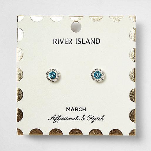 Clous d'oreilles à pierres de naissance mois de mars bleues