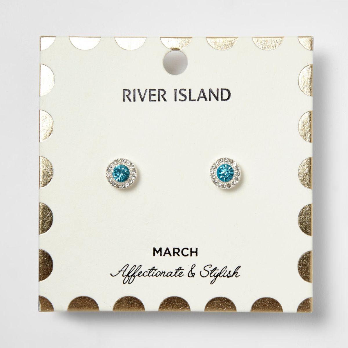 Ohrringe mit blauem Geburtsstein für den Monat März