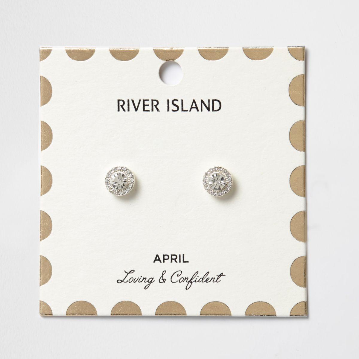 White April birthstone stud earrings