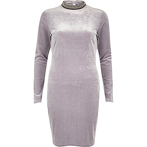 Grey velvet jewelled turtleneck mini dress