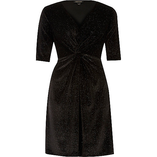 Black sparkly velvet knot dress