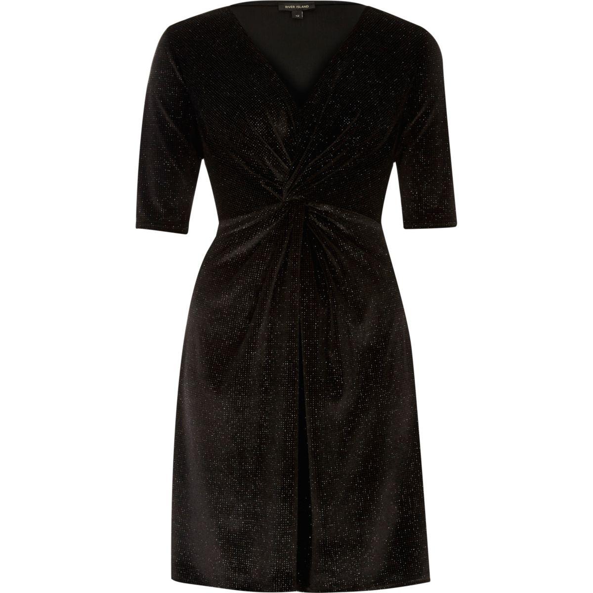 Black sparkly velvet knot dress