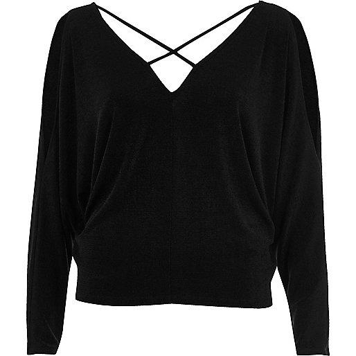 Black cold shoulder strappy batwing top