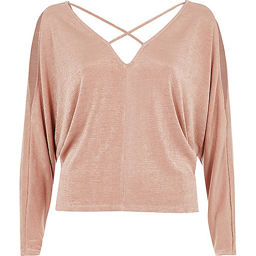 Pink shoulder strappy batwing top