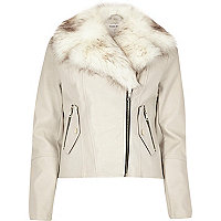 Stone faux fur trim biker jacket