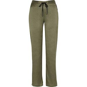 Pantalon de pyjama en satin kaki
