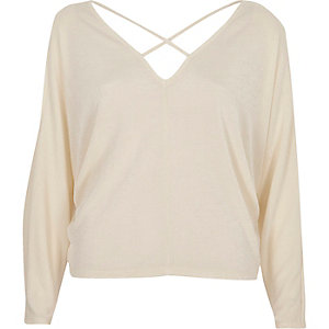 Cream cold shoulder strappy batwing top