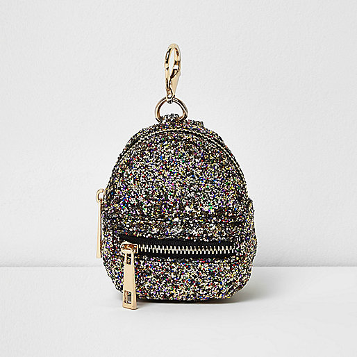 Gold glitter mini backpack keyring