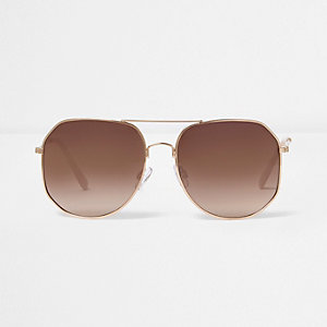 Rose gold angular aviator sunglasses