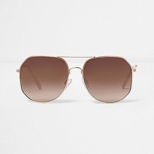 Rose gold angular aviator sunglasses