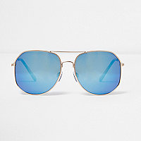 Gold blue tone angular aviator sunglasses