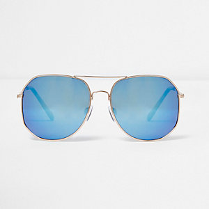 Goldene, rechteckige Pilotensonnenbrille