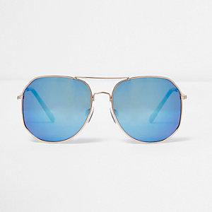 Lunettes de soleil aviateur angulaires bleues et dorées