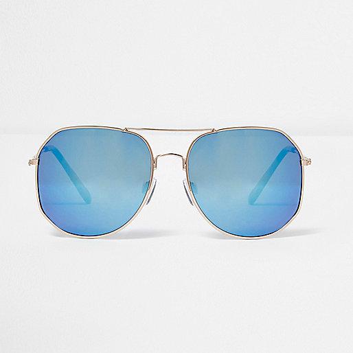 Gold blue tone angular aviator sunglasses