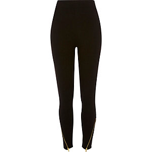 Black zip hem high rise leggings