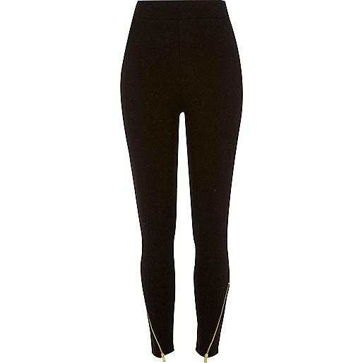 Black zip hem high rise leggings