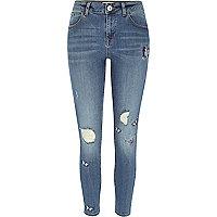 Alannah blauwe geborduurde relaxte skinny jeans