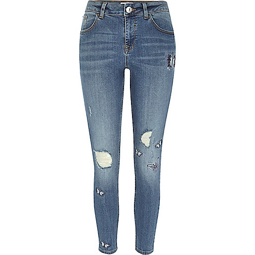 Blue embroidered Alannah relaxed skinny jeans
