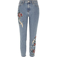 Blue wash embroidered Lori high waisted jeans