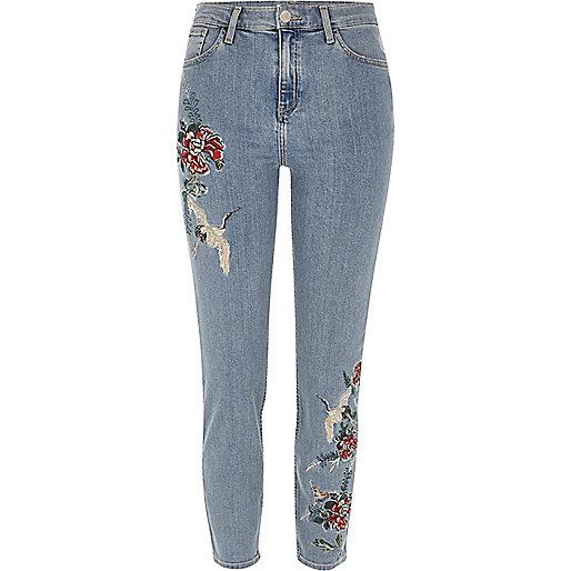 Lori – Bestickte Jeans in blauer Waschung mit hohem Bund