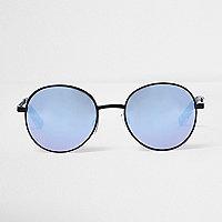 Schwarze, runde Sonnenbrille mit Gläsern in Helllila