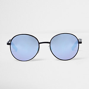 Black lilac lens round sunglasses