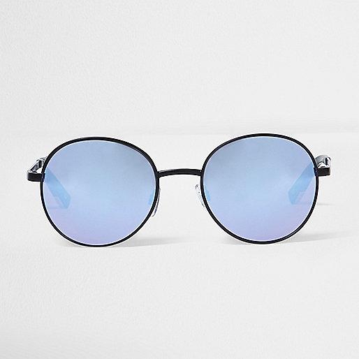 Black lilac lens round sunglasses