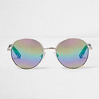 Gold round lens rainbow mirror sunglasses
