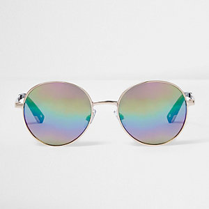 Gold round lens rainbow mirror sunglasses