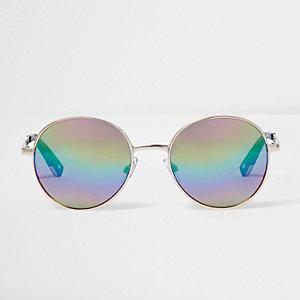 Goudkleurige zonnebril met gespiegelde ronde regenboogglazen