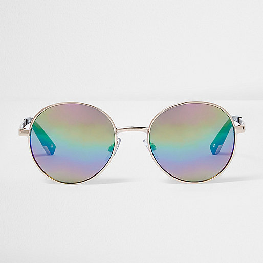 Lunettes de soleil rondes effet miroir dorées à verres multicolores