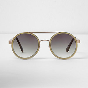 Khaki green circle lens sunglasses