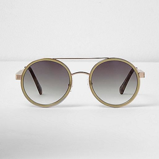 Khaki green round lens sunglasses