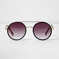 Schwarze, runde Sonnenbrille