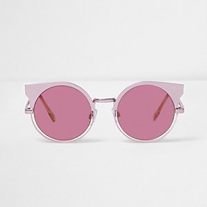 Pink metallic half frame sunglasses