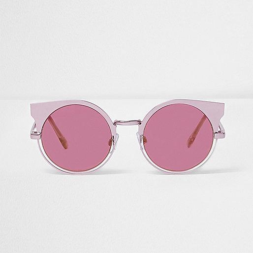 Lunettes de soleil à demi-monture rose métallisé