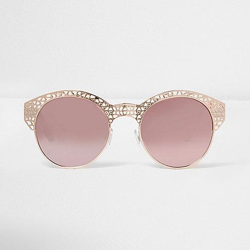 Lunettes de soleil à demi-monture effet miroir doré rose