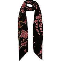 Écharpe fine à fleurs noire