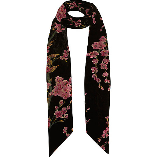 Black floral print skinny scarf