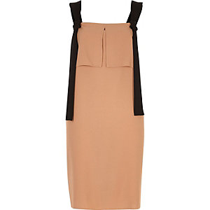 Nude contrast strap slip dress