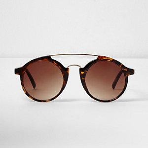 Borwn tortoise shell circle lens sunglasses