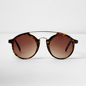 Borwn tortoise shell circle lens sunglasses