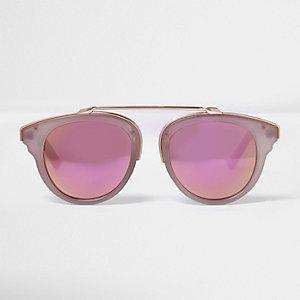 Lunettes de soleil rose poudré à verres miroir dorés