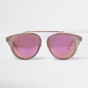 Oudroze-en-goudkleurige zonnebril met spiegelglazen