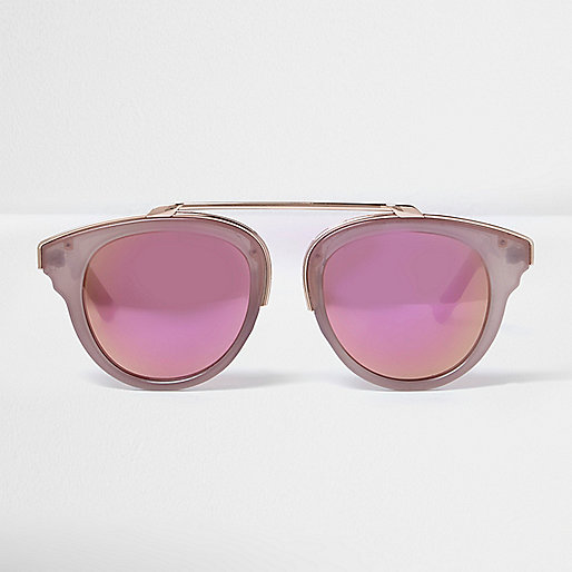 Blush pink gold mirror lens sunglasses