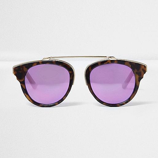 Brown tortoise shell purple lens sunglasses