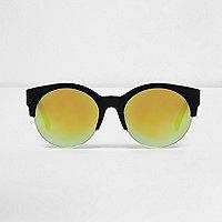 Lunettes de soleil noires effet miroir jaune demi-cerclées