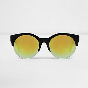 Black half frame yellow mirror sunglasses