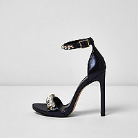 Metallic navy blue embellished heel sandals