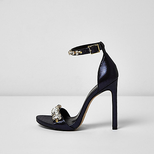 Metallic navy blue embellished heel sandals